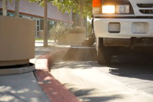 Parking Lot sweeping in Vacaville, CA, performed by Universal Site Services.