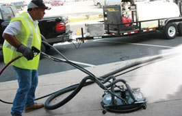 Steam Cleaning pavement by Universal Site Services