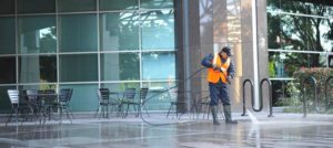Pressure washing commercial property and day porter service in Roseville, CA.