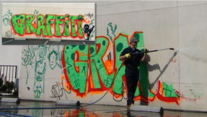 Graffiti abatement in Vacaville, CA by Universal Site Services.