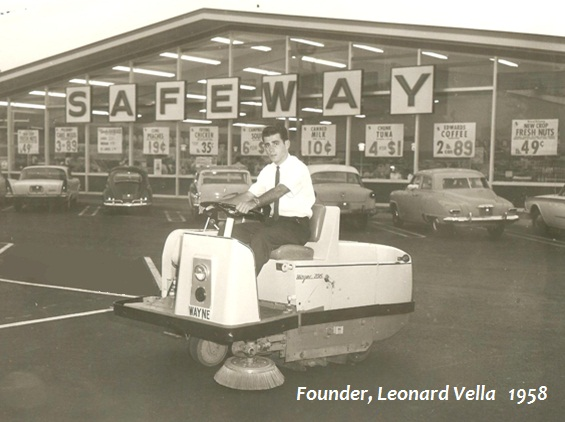 Founder, Leonard Vella on an early parking lot sweeper.